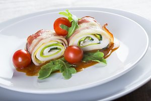Popiettes a typical dish of French cuisine made of rolled meat slices