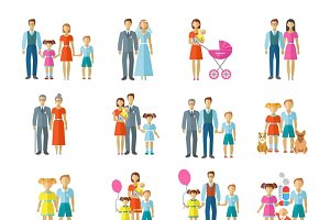 Family icons flat set