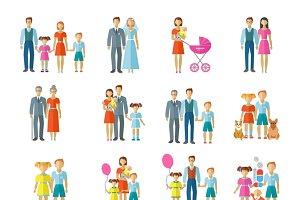 Family icons flat set