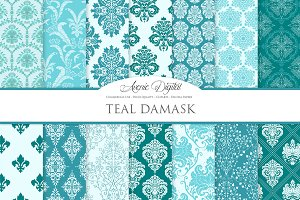 28 Teal Damask Digital Peper