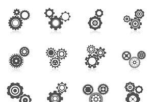 Cog wheel icon set