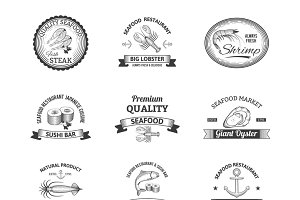Seafood restaurant emblems set