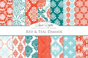 28 Teal and Red Damask Digital Paper