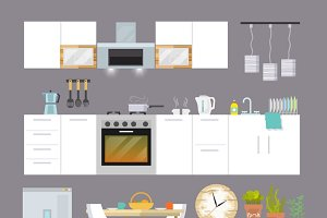 Kitchen interior icons flat set