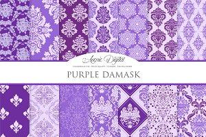 28 Purple Damask Digital Paper
