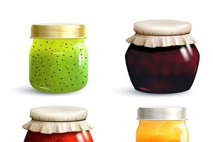 Natural fruit jam preserves jar set