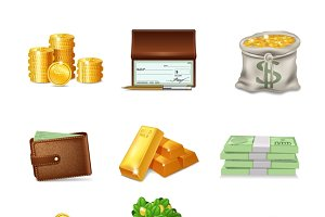 Financial decorative icons set