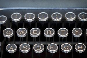 Close-up keyboard of typing machine