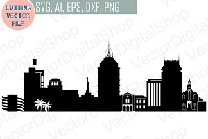Fresno vector California USA skyline