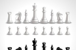 Chess black and white figures