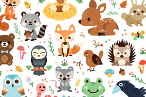 Woodland Decoration Animal Clipart