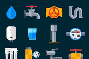 Water supply icons set