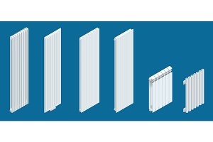 Isometric white vertical Heaters or Radiators. Home climate equipment icon with controls. Can be used for advertisement, infographics