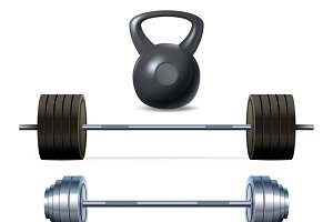 Bodybuilding equipment icons set