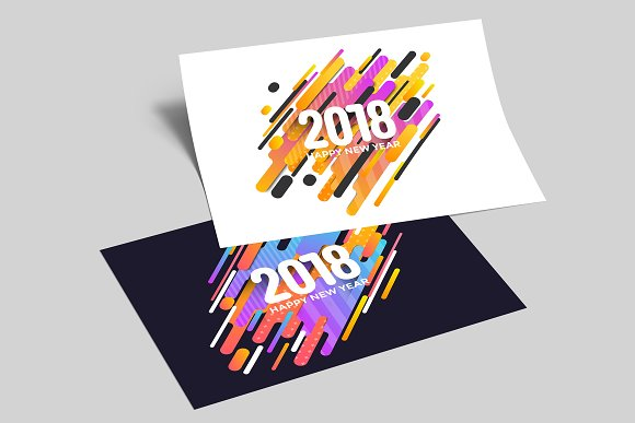 happy new year 2018 greeting cards illustrations