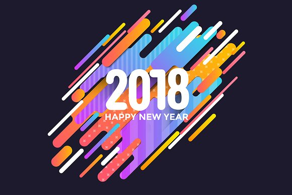 happy new year 2018 greeting cards illustrations creative market