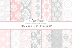 28 Pink and Grey Damask Patterns