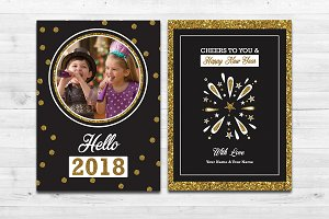 New Year Card Template-V671