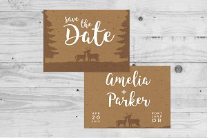 Rustic Deer Save The Date Template