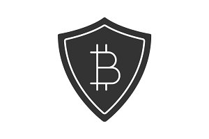 Safe bitcoin payments glyph icon