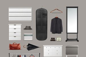 Vector set of wardrobe stuff