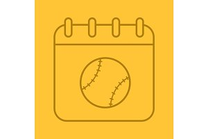 Baseball championship date linear icon