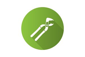Tongue and groove pliers flat design long shadow glyph icon
