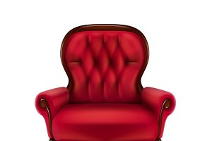 Red armchair for home interior