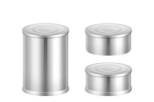Big and small steel tin cans