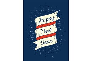 Happy new year. Ribbon banner in engraving style