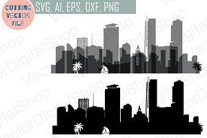 Miami vector Florida USA skyline