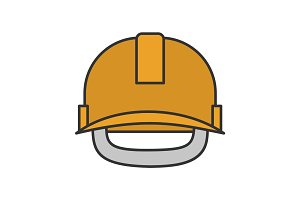 Industrial safety helmet color icon