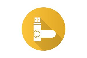 USB flash drive flat design long shadow glyph icon