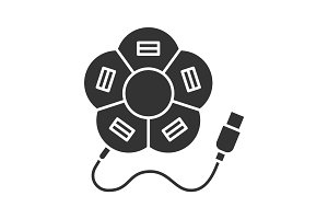 Flower shape USB hub glyph icon