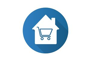 Household goods store flat design long shadow glyph icon