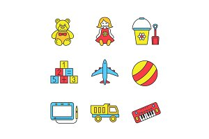 Kids toys color icons set