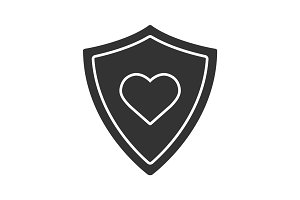 Shield with heart shape glyph icon