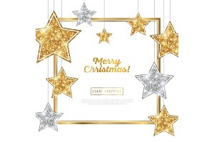 Christmas Frame with Silver and Gold Stars