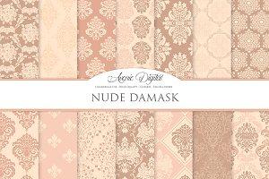 28 Nude Damask Digital Paper