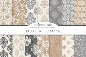 28 Neutral Damask Backgrounds