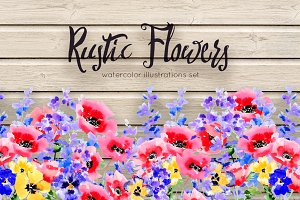 Rustic flowers illustration set