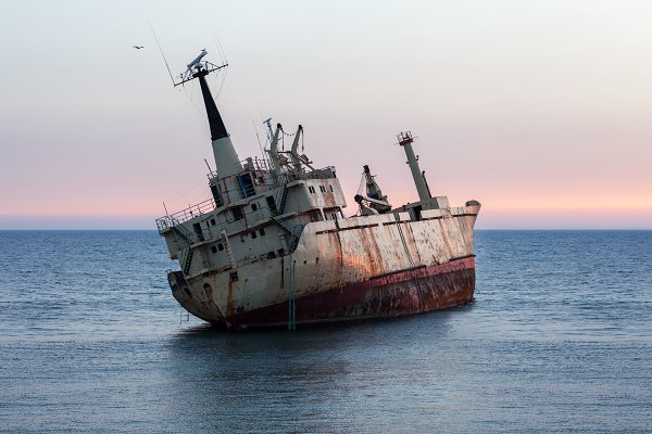 Transportation Stock Photos: Gladkov photography - Sinking ship wreck at sunset