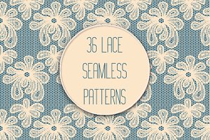 Set of 36 Lace Seamless Patterns