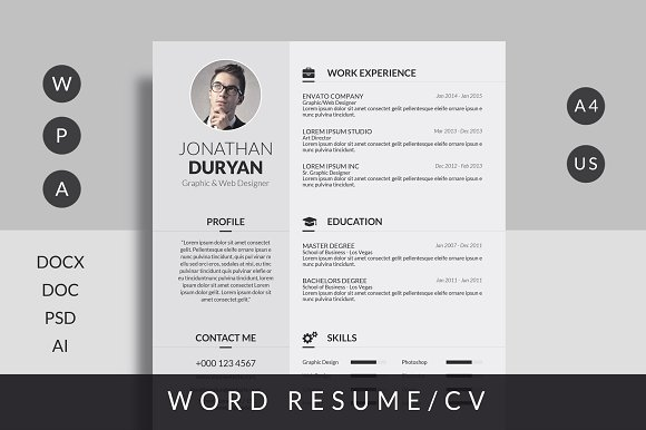 CV Template Letter/A4 Size