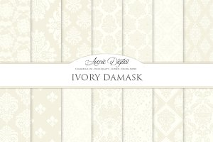 28 Ivory Damask Digital Papers