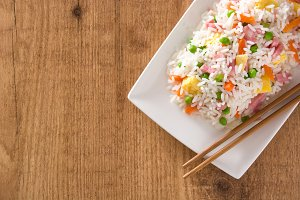 Chinese fried rice with vegetables