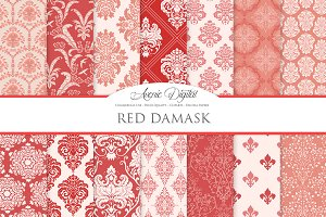 28 Red Damask Digital Papers