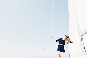 Girl on sailing boat
