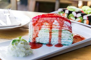 layer rainbow cake in the cafe