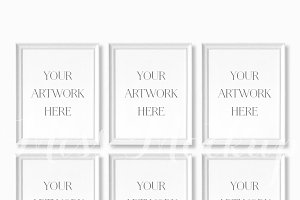 Set Of 6 White Frames Mockup